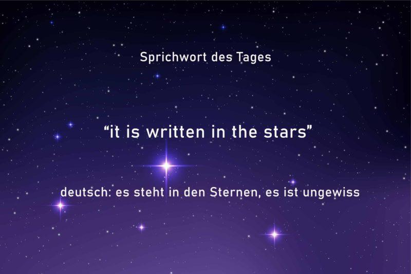 English Idiom, written in the stars